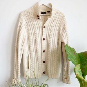 Ben Sherman Cream Chunky Wool Cardigan Sz L